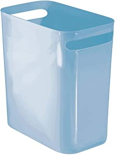 mDesign Slim Plastic Rectangular Trash Can Wastebasket, Garbage Container Bin with Handles for Bathroom, Kitchen, Home Office, Dorm, Kids Room - Shatter-Resistant - Light Blue