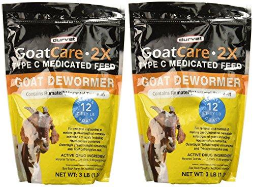 Durvet Goat Care 2X Medicated Pellets, Goat Dewormer, 3 Pounds Per Package (2 Pack)