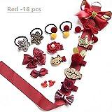 NFACE 18 stücke Geschenk Set Haarschmuck Baby Kleine Mädchen Haarspangen Bögen Krawatten Kleinkind Haarspangen Haarnadeln Set Kopf Ornamente Rot