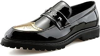 DINGGUANGHE-SHOES Calzado de ala de Negocios Casual Elegantes y cómodos, de Negocios, para Hombres, Oxford, Casual, Personalidad, Remache, Charol, Zapatos Brogue Calzado de ala de Desgaste Formal