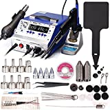 YIHUA 948-II Professional Soldering, Desoldering & Rework Station bundle with #2300 Hot Air Nozzles with Iron Holder, Cleaning Kit, and Accessories (39 Items)