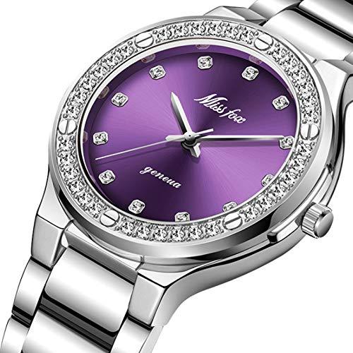 MLHXHX Reloj de cuarzo para mujer, oro de gama alta con diamantes plateados, color morado