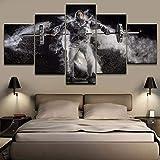 RQQAMI Leinwand Malerei Malerei Home Decor Gewichtheben Sport Poster HD 5 Stück gut aussehend...