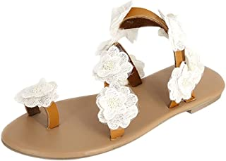 Casual Flat Shoes for Women, Huazi2 Summer Flower Bottom Sandals Open Toe Rome Beach Walking Shoes