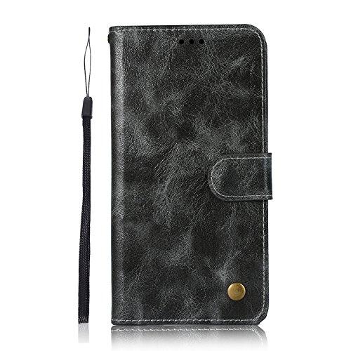 Sunrive Hülle Für LG Q7, Magnetisch Schaltfläche Ledertasche Schutzhülle Etui Leder Hülle Cover Handyhülle Schalen Handy Tasche Lederhülle(N-Dunkelbraun)+Gratis Eingabestift