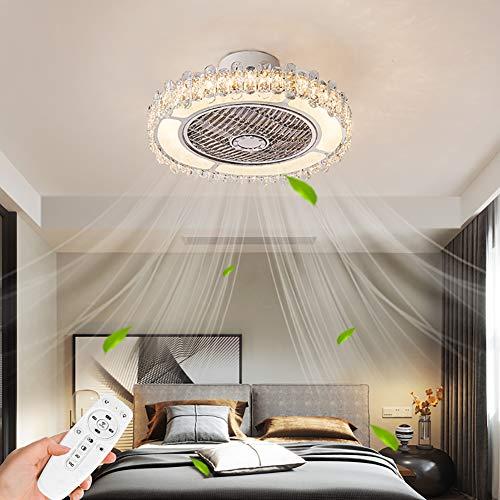 Ventilador de techo con iluminación LED regulable, cristal de techo, silencioso, con mando a distancia, diámetro de 50 cm, para salón, dormitorio, habitación de los niños, comedor, lámpara de techo