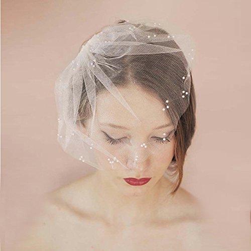 TOUSHA Bridal Ehe Soft-Grid Kopfbedeckungen, One-Tier Cut Edge Rouge Kurze Schleier mit Kamm-Für...