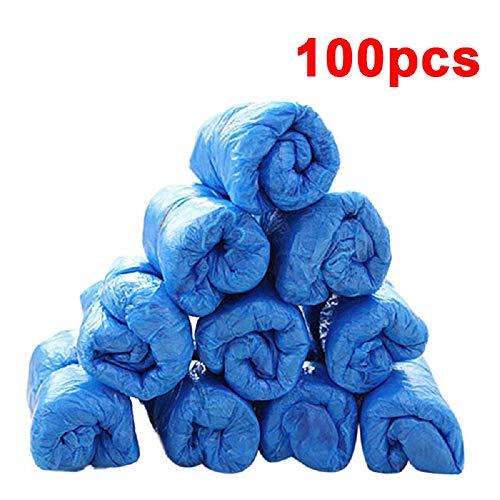 Copriscarpe antipolvere impermeabile monouso 100 pezzi, copriscarpe igienico antiscivolo blu, coperture elastiche da pioggia usa e getta di plastica per il posto di lavoro allaperto