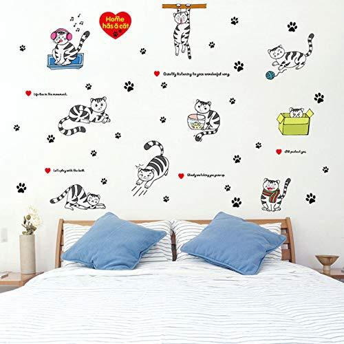 Cartoon katten muur Stickers voor kinderen kamers kwekerij interieur muur raamdecoratie stickers DIY kinderen muurschilderingen