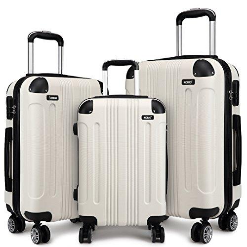 Kono Hartschalen-Koffer Trolley Leichtgewicht ABS Rollkoffer Reisekoffer mit Zahlenschloss und 4 Rollen (Beige,Koffer-Set)