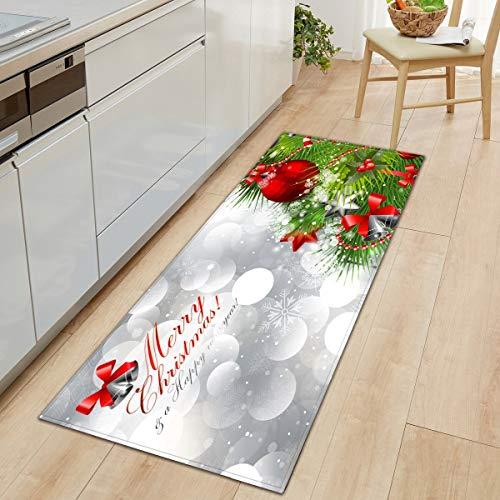 OPLJ Alfombra Larga de Cocina, Felpudo de Microfibra, Alfombra de Feliz Navidad, Alfombra de Bienvenida, Alfombra de Franela, Alfombra de baño Impresa Lavable A1 40x120cm