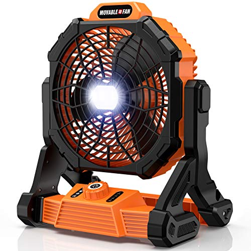 RUNACC Cordless Fan Battery Powered - Floor Fan with 1000 Lumens LED Work Light | 3500CFM Strong Airflow | 14400mAh Rechargeable Battery for Jobsite & Industrial