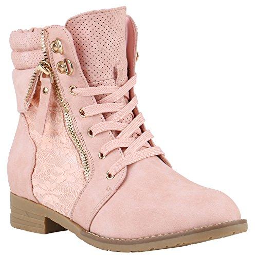 stiefelparadies Damen Stiefeletten Schnürstiefeletten Worker Boots Zipper Schuhe 142054 Rosa Autol 40 Flandell