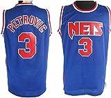 XZWQ Camisetas De Baloncesto para Hombre, NBA Brooklyn Nets # 3 Drazen Petrovic City Edition Jersey Malla Bordada Baloncesto Swing Hombres Jersey,Azul,S