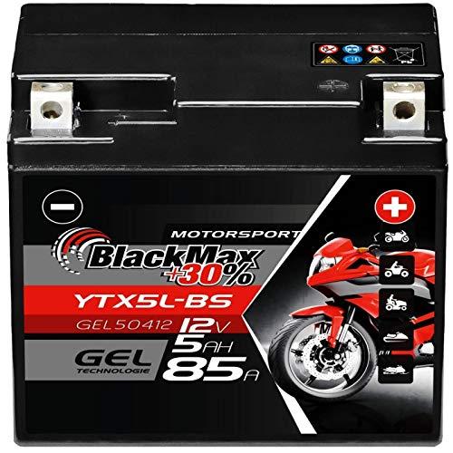 BlackMax YTX5L-BS Motorradbatterie GEL 12V 5Ah YTX5L-4 Batterie Roller CTX4L-4