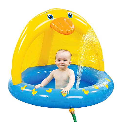 Bundaloo Duck Baby Pool with Canopy and Sprinkler - Kiddie Inflatable Bath for Infant and Toddler Boys and Girls - Blue Wading and Playing Tub with Yellow Shade - Perfect Toy for Outdoor Summer Fun
