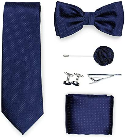 Bows N Ties Pin Dot Designer Tie Set 6pc Set of Pin Dot Necktie Bow Tie Pocket Square Tie Bar product image