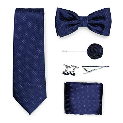 Puccini Exklusive Gentleman Geschenkbox mit Krawatte, Fliege, Einstecktuch, Krawattennadel, Manschettenknöpfe, Anstecknadel im klassischen Paisley-Muster (Navy)