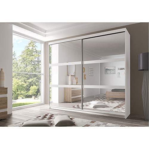 E-MEUBLES Armoire de Chambre avec 2 Portes coulissantes et mirors | Penderie (Tringle) avec étagères (LxHxP): 183x218x61 Ben 10 (Blanc)