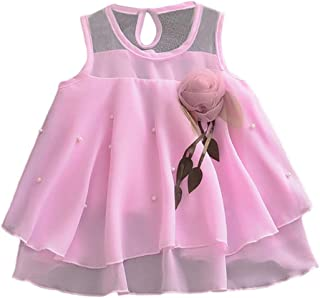 Little Story Toddler Baby Girls Sleeveless Solid Tulle Skirt Flowers Party Princess Dresses