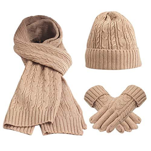 FEOYA 3 Pezzi Set Regalo di inverno insiemi Donne Guanti Sciarpa Cappello del Beanie Knitting lana Rosa