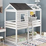 LZ LEISURE ZONE Twin Over Twin Bunk Bed, Wood Twin House Bed Loft Bed Bedroom Furniture with Roof, Window, Guardrail, Ladder for Kids/Teens/Girls/Boys (Antique White, Twin Over Twin)