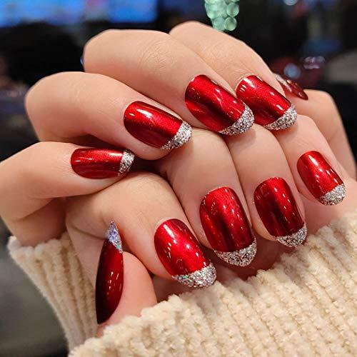 Sethexy Wein Oval Falsche Nägel Schick oben Funkeln Vollständige Abdeckung Kunst Falsche Fingernägel Tipps für Frauen und Mädchen