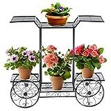 COSTWAY Pflanzenregal Metall, Blumenregal schwarz, Blumenständer mit 6 Ablagen, Pflanzenhalter für den Innen- und Außenbereich, Pflanzenständer Balkon Garten, Freistehender Blumenwagen