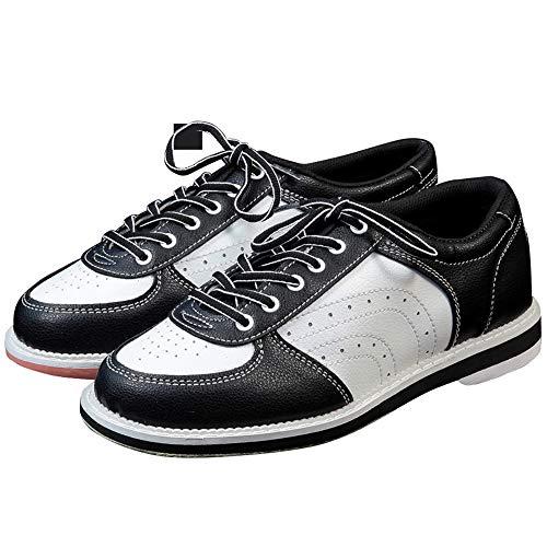 Zapatos Unisex Bolos, Cuero Profesional De Bolos Zapatos De La Zapatilla Antideslizante Transpirable Ata Para Arriba El Tazón De Fuente De Las Zapatillas De Deporte Para Hombres Y Mujeres,Blanco,43