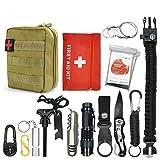 Abida Survival Kit, 15 in 1 Outdoor Emergency Survival Kit mit Survival-Decke, Klappmesser, Feuerstarter, Tactical Pen, Taktische Taschenlampe zum Wandern, Camping, Reisen (mit Benutzerhandbuch) (Ausrüstung)