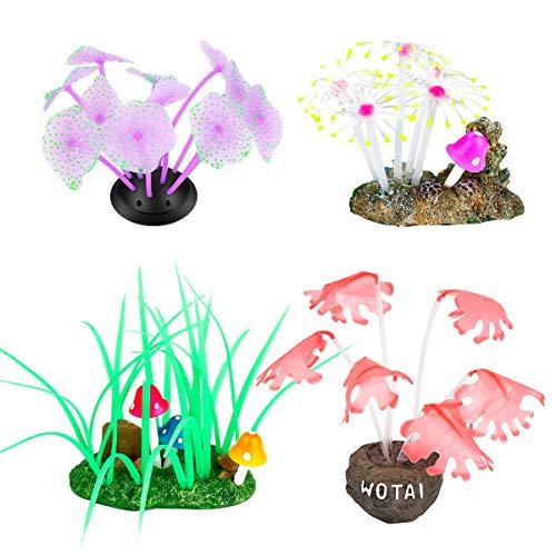 Aceshop Decoraciones para Acuarios 4 Piezas Acuario Paisaje Decoración de Plantas Efecto Brillante Silicona Adorno de Decoración de Plantas de Coral Artificial para Acuario de Pecera