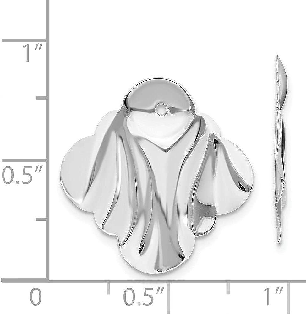 14k White Gold Hammered Fancy Earring Jackets (L-22 mm, W-22 mm)