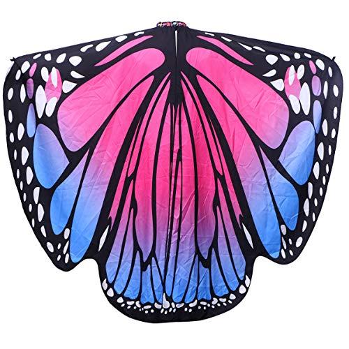 BESPORTBLE Frauen Schmetterling Kostüm Umhang Tiere Schmetterling Schlinge Schmetterling Flügel für Damen Mädchen Karneval Party Cosplay Halloween Kostüm Maskerade Zubehör (Blau Und Rosa)