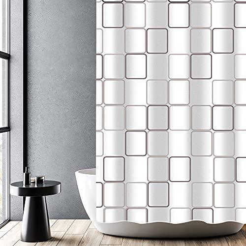 DUFU Duschvorhang Wasserdichter Duschvorhang mit Antischinmmel Polyester Maschinenwaschbar Mit 12 Haken, Schweren Qualität & Dem Eingefassten Bleiband, Geeignet für Bad & Badewanne Weiß