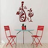 Stickers Muraux De Vigne Vinyle Vin Verre Stickers Muraux Pour Bar Cuisine Floral Bouteille Décor À La Maison Art Mural Conception Amovible 57X50 Cm