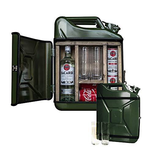 mikamax – Jerrycan Mix Drink Bar 20L – Whiskey Bar – Mobile Bar – Benzinkanister bar – Grün – 20 Liter – Holz und Metall – 46.5 x 34.5 x 14 cm