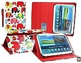 Emartbuy Billow X100V6 Quad Core Tableta PC 10.1 Pulgada Universal Serie (10-11 Pulgada) Multicolor Elefantes Ángulo Múltiples Ejecutivo Folio Funda Carcasa con Ranuras para Tarjetas+ Lápiz Óptico