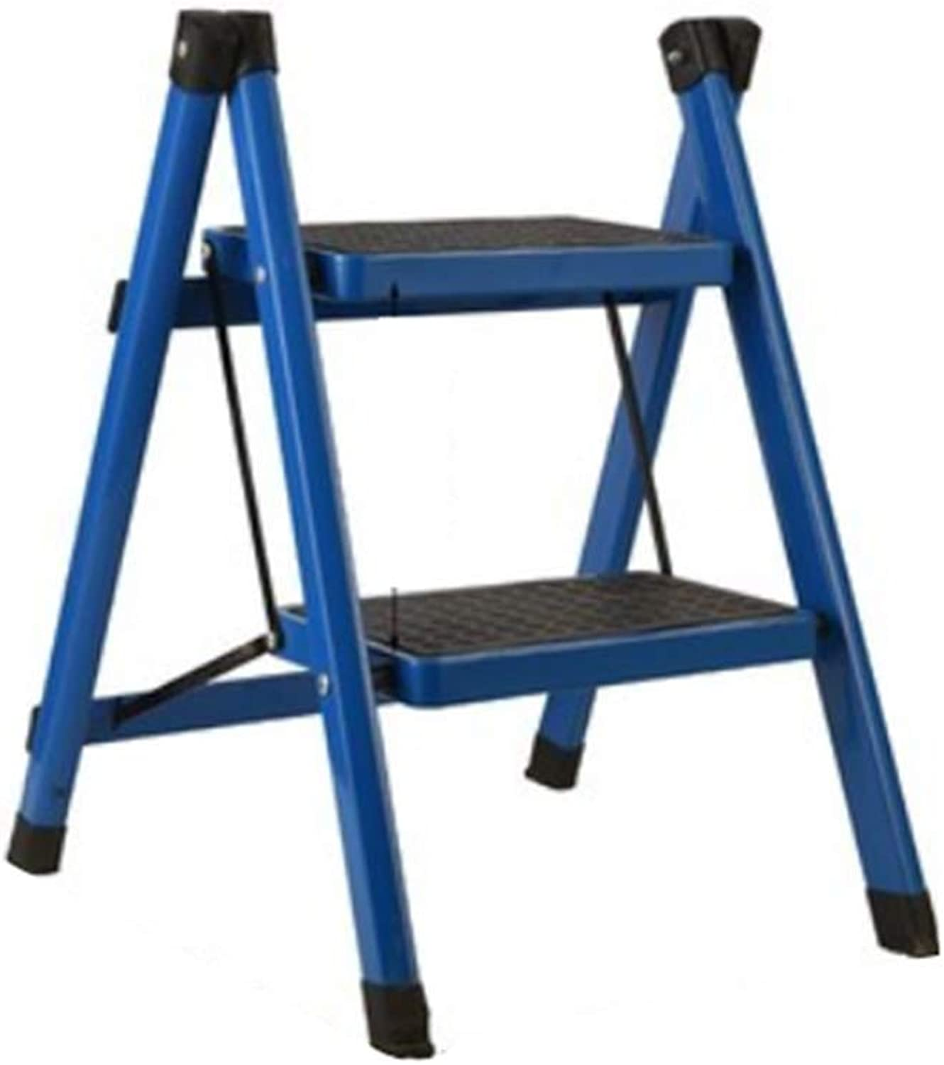 GAIXIA-Ladder stool Staircase Staircase Two-Story Folding Stool, Stair Chair Suitable for Kitchen Bedroom Interior Multi-Purpose Household Contraction Ladder 40x51x44CM (color   bluee)