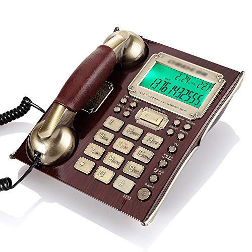 YHZMT Retro Corded Telephone, Home Office Landline Fixed Telephone with Caller ID Display/Speaking Dialing/Big Button/Hands-Free Calling