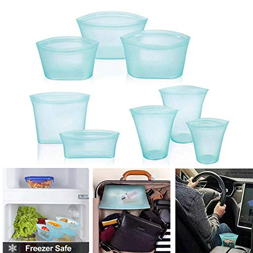8Pcs Reusable Silicone Food Storage Bag,Zip Top Leakproof Containers Stand Up Leakproof Cup Storage Silicone Bags Leak-Proof Fresh Ziplock Produce Bag (Blau)