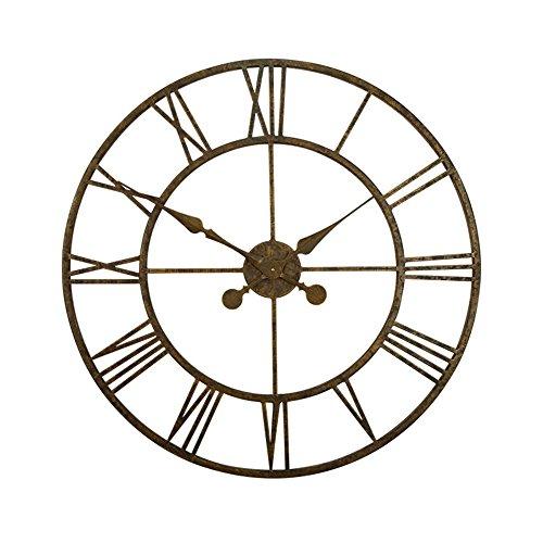 YALI YL Europäische große schmiedeeiserne Uhr Retro stille Wanduhr runde Form Wohnzimmer Studie Unternehmen Bar Cafe 30 Zoll Precision