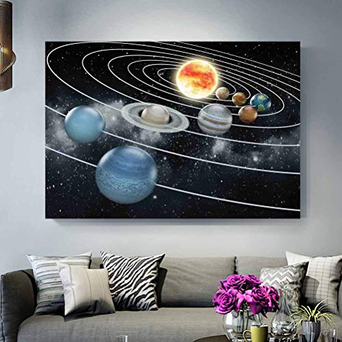 ScottDecor Metal Wall Art Outdoor Galaxy,Solar System All Eight Planets and The Sun Pluto Jupiter Mars Venus Science Fiction,Black Grey The Ideal Gift for Any Occasion No Frame L24 x H48 Inch