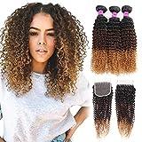Mink Hair Ombre Curly Human Hair Bundles with Closure 8A (14 16 18+12) Blonde Brazilian Virgin Kinky Curly Human Hair for Black Women , 1b/4/27#