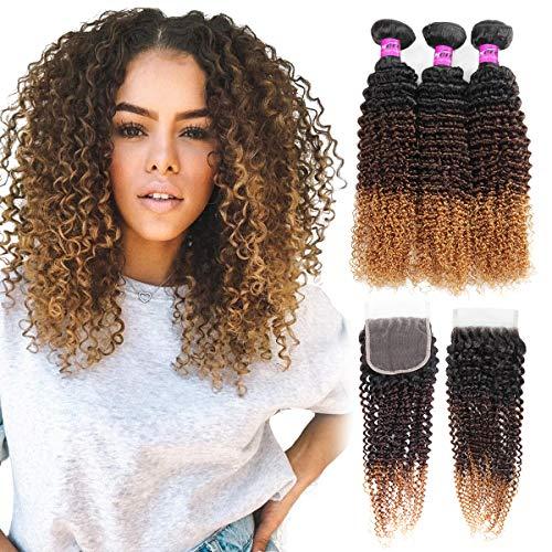 Mink Hair Ombre Curly Human Hair Bundles with Closure 8A (14 16 18+12) Blonde Brazilian Virgin Kinky Curly Human Hair for Black Women, 1b/4/27#