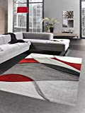 CARPETIA Alfombra Moderna Alfombra salón diseño Rojo Gris Negro Größe 120x170 cm