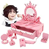 GZD Los niños Mesas de tocador, Maquillaje Escritorio Juguete Set, tocador de Madera con Espejo y Grandes Accesorios para niños de Vestir