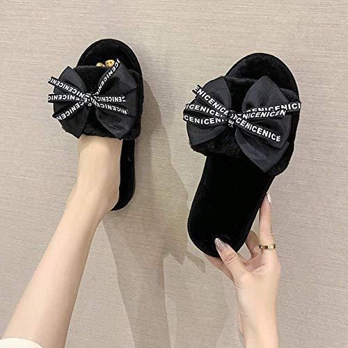 ZSW Zapatillas de casa de Felpa para Mujer con Piel sintética Zapatos cálidos Mujer Slip on Flats Cute Bowtie Female Slides Plus (Color: Negro Tamaño: 37)-37 UE_Negro