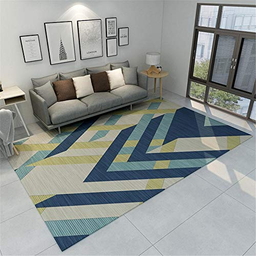 Kunsen Bases Antideslizantes para alfombras alfombras Lavables Alfombra Beige Azul Antideslizante Antideslizante para Sala de Estar Alfombra Juvenil Dormitorio 160x230cm 5ft 3' X7ft 6.6'