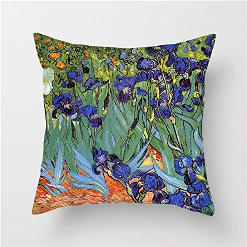 LIFUQING Funda De Almohada De Pintura Van Gogh Funda De Almohada Starry Sky Funda De Almohada De Girasol Decoración para El Hogar Funda de cojín 17.7 x 17.7 Pulgadas