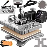 VEVOR Heat Press 12X15 Inch 6 in 1 Heat Press 900W Heat Press Machine with 360°Rotation Swing Away White Heat Press T-Shirt Sublimation Machine Dual-Tube Heating for DIY Shoes Caps Mugs Plates